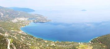 Panoramisch landschap van Oude Epidauros Argolis Griekenland - Palaia Epidauros stock afbeelding