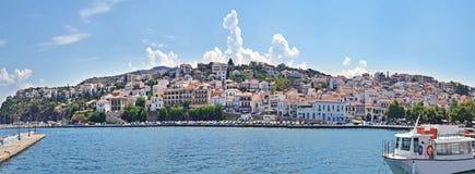 Panoramisch landschap van Pylos Messinia de Peloponnesus Griekenland stock fotografie