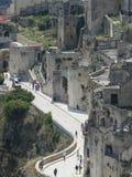 Panoramisch Matera in het gebied van Basilicata, in Zuidelijk Italië Apulia Italiaans Romantisch Sassi Mel Gibson ` s de Hartstoc stock foto's