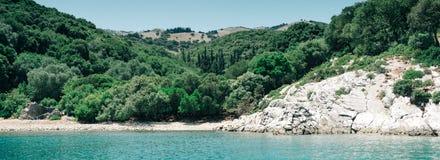 Panoramisch overzees landschap Kefalonia Griekenland royalty-vrije stock foto
