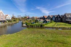 Panoramisch schot van dorp Marken Stock Foto