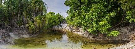 Panoramisch schot van een klein pond bij het tropische eiland royalty-vrije stock foto