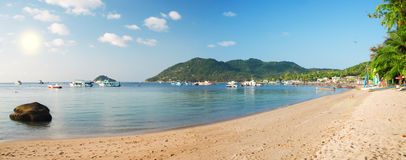 Panoramisch strand. Koh taoeiland. Thailand royalty-vrije stock foto's
