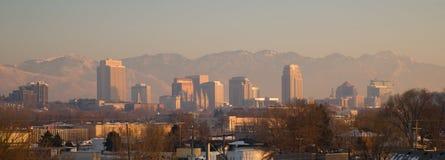 Panoramisch Toneellandschap Salt Lake City Utah Wasatch Van de binnenstad Stock Afbeeldingen