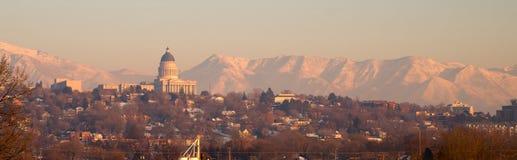 Panoramisch Toneellandschap Salt Lake City Utah Wasatch Van de binnenstad Royalty-vrije Stock Foto