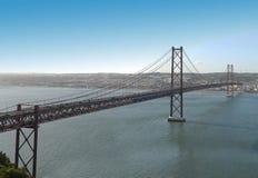 Panoramisch van de brug van 25 DE abril. Royalty-vrije Stock Foto