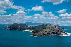 Panoramisch van de Cies-Eilanden in Vigo, Galicië stock afbeelding