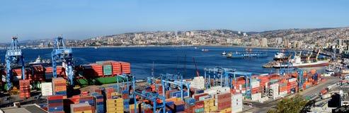 Panoramisch van de havenstad van Valparaiso Stock Foto