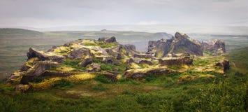 Panoramisch van de hexagonale vormingen van de basaltrots, in Ijslandse Nati stock foto