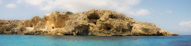 Panoramisch van Favignana rotsachtige overzees Sicilië Royalty-vrije Stock Foto