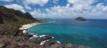 Panoramisch van Makapuu Strand Hawaï Stock Afbeeldingen