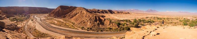 Panoramisch van Pukara DE Quitor van de vallei van San Pedro de Atacama in Chili stock fotografie