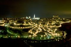 Panoramisch van 's nachts Toledo Stock Fotografie