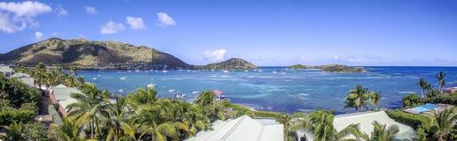 Panoramisch van Saint Martin, Sint Maarten: Caraïbische Stranden stock afbeelding