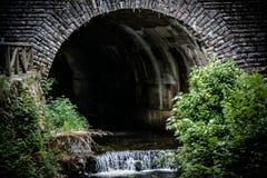 Panoramisch vom Tunnel in der Natur mit kleinem Wasserfall und Vegetation lizenzfreie stockfotografie