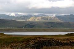 Panoramisch von der Landschaft von dyrholaey Stockfotografie