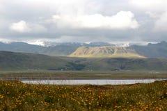 Panoramisch von der Landschaft von dyrholaey Stockfotos