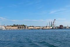 Panoramisch von der Pulaküstenlinie, Kroatien stockfotos