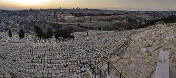 Panoramische Abendansicht der alten Stadt Jerusalem Stockfotografie