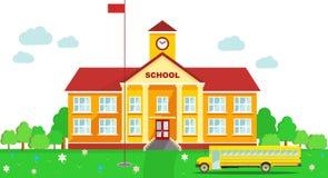 Panoramische achtergrond met de schoolbouw en Stock Foto