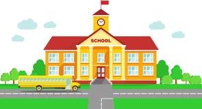 Panoramische achtergrond met de schoolbouw en schoolbus in vlakke stijl vector illustratie