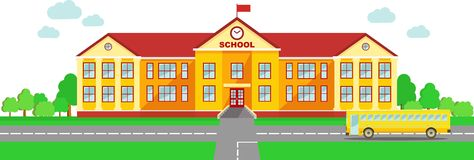 Panoramische achtergrond met de schoolbouw en schoolbus in vlakke stijl stock illustratie