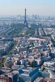 Panoramische Ansicht über Ausflug Eiffel und La-Verteidigung, Pari Stockbilder