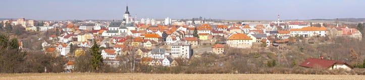 Panoramische Ansicht über eine historische Stadt Stockbild