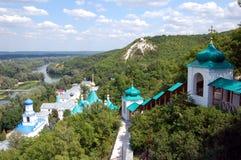 Panoramische Ansicht über Sviyatogorsk in Ukraine Lizenzfreies Stockfoto