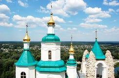 Panoramische Ansicht über Sviyatogorsk in Ukraine Stockfoto