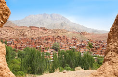 Panoramische Ansicht Abyaneh des alten Dorfs Lizenzfreie Stockfotografie
