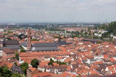 Panoramische Ansicht der Heidelberg-alten Stadt Lizenzfreie Stockfotos