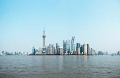 Panoramische Ansicht der Shanghai-Skyline Stockfotos