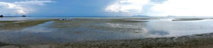 Panoramische Ansicht des leeren Strandes Lizenzfreie Stockbilder