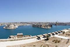 Panoramische Ansicht des Malta-großartigen Hafens in Valletta Lizenzfreie Stockbilder