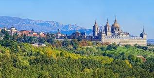 Panoramische Ansicht des Stadtel Escorial Stockbild