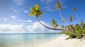 Panoramische Ansicht des tropischen weißen Sandstrandes Stockfotografie