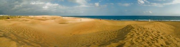 Panoramische Ansicht Maspalomas Strand. Canarias, Spanien lizenzfreie stockfotos