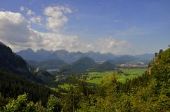 Panoramische Ansicht Neuschwanstein Schlösser Lizenzfreie Stockbilder