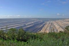 Panoramische Ansicht in Tagebau Stockfotos