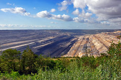 Panoramische Ansicht in Tagebau Stockbilder