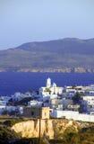 Panoramische Ansicht von Adamas Plaka Milos Lizenzfreie Stockfotografie