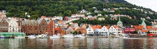 Panoramische Ansicht von Bergen, Norwegen Lizenzfreie Stockfotos