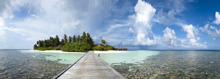 Panoramische Ansicht von einer Paradiesinsel Stockfotografie