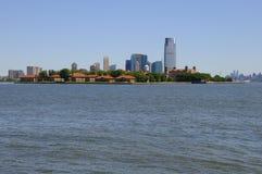 Panoramische Ansicht von Ellis Island und von Jersey City Stockfoto