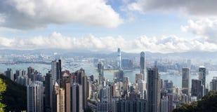 Panoramische Ansicht von Hong Kong, Victoria Hafen stockbild