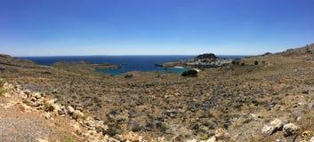 Panoramische Ansicht von Lindos, Rhodos lizenzfreies stockbild