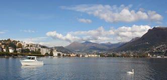 Panoramische Ansicht von Lugano Lizenzfreies Stockbild