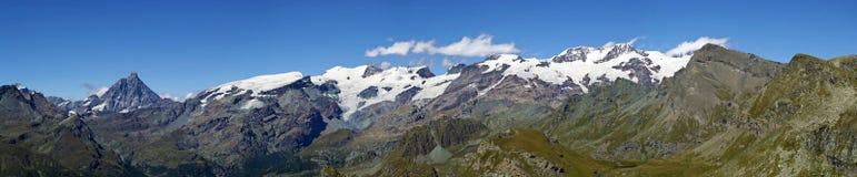 Panoramische Ansicht von Monte Rosa Cervino Matterhorn Stockfotografie