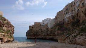 Panoramische Ansicht von Polignano Puglia Italien stock footage